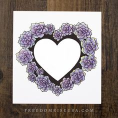 Succulent Heart Art Print | Art by Becca Stevens | Freedomriseusa.com | @freedomrise