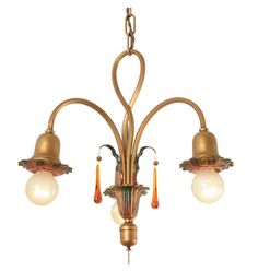 3-Light Colonial Revival Twist Chandelier W/ Pull-chain   Circa 1928 R4660