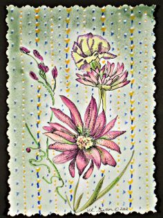 Superb Watercolor And Gouache Painting With India Ink Details Of A Sprig Of Yellow  And Pink Flowers Against A Vintage Wallpaper Inspired Background