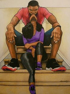 I love black art and black LOVE Black Couple Art, Black Girl Art, Black Couples, Rap Tumblr, Tribal Tatoos, Image Couple, Natural Hair Art, Black Art Pictures, Black Love Images