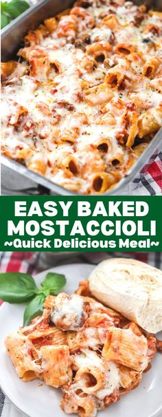 Easy Baked Mostaccioli is a classic Italian dish that takes very little effort to make, but has a ton of flavor! This comforting dish is a dinner staple! Recipe includes freezer directions and vegetarian options as well!! Pasta Dinner Recipes, Yummy Pasta Recipes, Easy Casserole Recipes, Lunch Recipes, Pasta Casserole, Noodle Recipes, Delicious Recipes, Yummy Food, Pasta Dishes