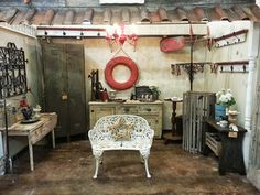 The Red Chandelier...shabby vintage booth display