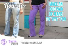 Upcycle an old pair of jeans with just some bleach and dye.  For this project, you'll need:  bleach, a tub or sink that you don't mind putting bleach and dye into, an old pair of pants, rit dye, 1 cup of salt, 1 TBS laundry detergent, washing machine, rubber gloves, and something to stir with. Watch my tutorial to see how it's done! http://youtu.be/v9zSTvpOJec  #jeans #diy #upcycle #denim #dye