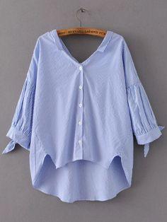 982b1e601b7 Shop Striped Tie Cuff Dip Hem Blouse online. SheIn offers Striped Tie Cuff  Dip Hem