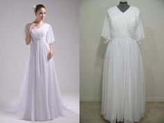 For the modest bride this beautiful, chiffon gown is the perfect choice; high neckline with pleated bodice, beaded lace applique detailing on the waist and angel-like sleeves.