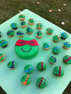 The TMNT cake and cupcakes