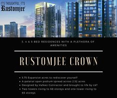    RUSTOMJEE CROWN PRABHADEVI     👉Two towers rising to 68 storeys and one tower rising to 65 storeys 👉5.75 Expansive acres to rediscover yourself 👉A palatial open podium spread across 2.52 acres  For more information please visit our website: / Towers, Acre, Floor Plans, Crown, How To Plan, Website, Design, Corona, Tours