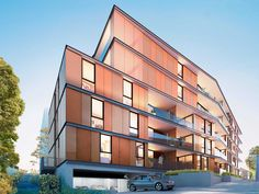 Blackburn Village Apartments | Featuring #Alucobond #Spectra Lava Red - #Facade 3d Architecture, Lava, Facade, Multi Story Building, Australia, Mansions, Street, House Styles, Apartments