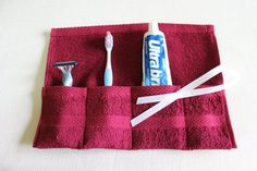 Terrycloth Toothbrush and Paste Travel Roll in Burgandy Berry...great little gift....free shipping