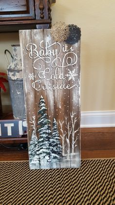 A board I painted for the front entry – Holzarbeiten Christmas Wood Crafts, Christmas Signs Wood, Holiday Signs, Christmas Porch, Rustic Christmas, Christmas Art, Christmas Projects, Holiday Crafts, Christmas Decorations