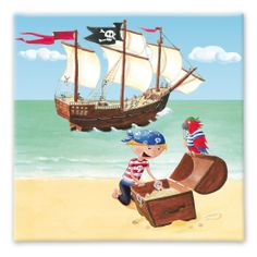 Set of 5 Canvas Prints Pirate Ship Boys Art 150cmx23cm