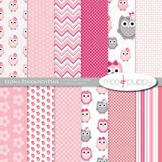 Owl Digital Scrapbook Paper  -  Leona Pink&HotPink  -- 12x12  -  INSTANT DOWNLOAD