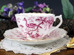 Cairo Coalport Pink Exotic Birds, Teacup and Saucer, English Tea Cup, Fine Bone China - Beautiful pink branches and exotic birds decorate this sweet flat cup and matching saucer. Great vintage conditi