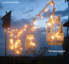 Beautiful mason jar lighting from #Etsy shop treasureagain
