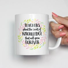 Teacher Appreciation Week Discover Teacher Gift Teacher Mug Teachers Plant Seeds of Knowledge Personalized Teacher Gift Best Teacher Inspirational Mug Coffee Mug 0143 Teachers Day Gifts, Thank You Teacher Gifts, Personalized Teacher Gifts, Teacher Christmas Gifts, Xmas Gifts, Homemade Gifts, Diy Gifts, Diy Presents, Bff