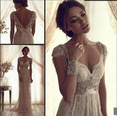 New White/ Ivory Wedding Dress Vintage Lace Bridal Gown Size 6-8-10-12-14-16 фото