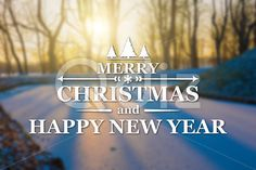 Qdiz Stock Photos | Merry Christmas and New Year greeting card,  #background #blur #blurred #card #celebration #Christmas #eve #forest #greeting #happy #holiday #light #Merry #new #postcard #retro #season #snow #Sun #sundown #Sunset #traditional #tree #vintage #winter #xmas #year