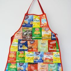 A great fun upcycled project – we love crisps in our house, rather than send the empty packets to landfill create a unique apron.