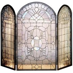 40 Inch W X 34 Inch H Beveled Glass Clear Folding Fireplace Screen