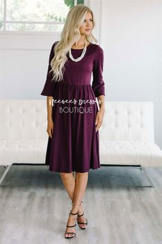 You will have this beautiful dress for years to come and continue to grab for it again and again! It's soft, gorgeous and comfortable too. The Naomi is rich jewel tone deep plum and features length bell sleeves and a gathered waist. Modest Bridesmaid Dresses, Modest Dresses, Modest Outfits, Casual Dresses, Dresses With Sleeves, Bridesmaids, Wedding Dresses, Dress Up Outfits, Fashion Dresses