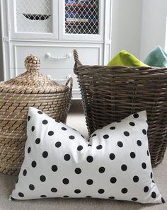 Black Polka Dot Pillow Cover - Designer Decorative Pillow - Lumbar - Throw Pillow - Black and White Dots