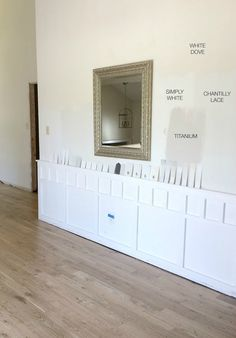 """Benjamin Moore: Simply White"" How To Choose a Paint Color: 10 tips to help you decide. Dark Paint Colors, Interior Paint Colors, Interior Design, Luxury Interior, Small Basement Remodel, Basement Remodeling, Best White Paint, White Paints, Benjamin Moore White"