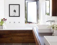 Jonathan Adler Vases | Bathroom Decor | Wood Frame | Nature Theme | Natural Bath | Bathroom Design