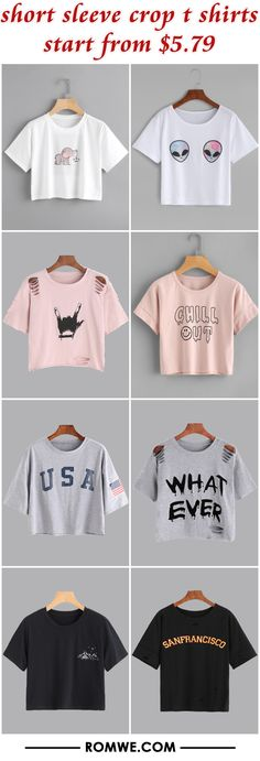 short sleeve crop t shirts from $5.79