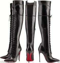 $2195 Christian Louboutin Mado Nappa Thigh High Over knee Heel Lace up Boots 8