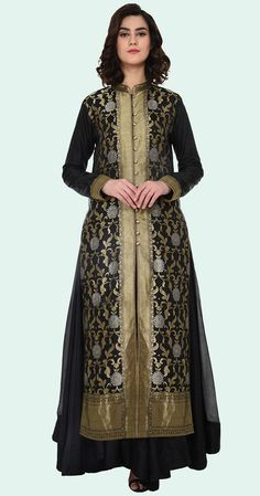 Black Sona Roopa Banarasi Zari Hand Woven Jacket With Skirt