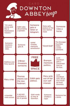 Downton Abbey Bingo | Paste Magazine. We are so playing this on Sunday!