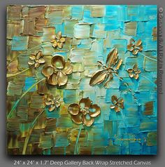 ORIGINAL Dragonfly Palette Knife Painting by ModernHouseArt, $325.00