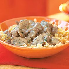Recipe for beef stroganoff in the crockpot. Need to try with my 3 mushroom stroganoff! Classic Beef Stroganoff Recipe, Slow Cooker Beef Stroganoff Recipe, Healthy Beef Stroganoff, Chicken Stroganoff, Mushroom Stroganoff, Mushroom Soup, Fall Crockpot Recipes, Slow Cooker Recipes, Beef Recipes