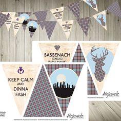 Outlander inspired Bunting Garland paper card INSTANT by Deborah Dey