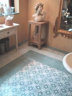 geometric tile floor with border