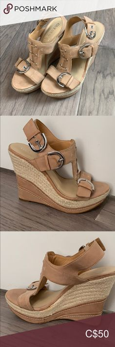 GUESS by Marciano wedges Marciano wedges, size 5, worn only a handful of times. Heel is too high for me. Guess by Marciano Shoes Wedges