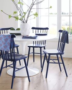 An iconic design (our fresh spin on the Windsor Chair) gets a modern update with a more petite profile and our signature palette | Tucker Chairs in Midnight via #serenaandlily
