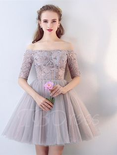 #TBDress - #TBDress A-Line Half Sleeves Beaded Lace Off-the-Shoulder Short Homecoming Dress - AdoreWe.com