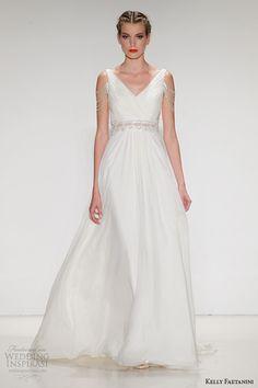 kelly faetanini #wedding dress fall 2015 bridal silk chiffon a line v neck gown illusion waistband beaded fringe sleeve emeline #weddingdress #weddings More at : http://www.weddinginspirasi.com/2014/10/15/kelly-faetanini-fall-2015-wedding-dresses/