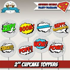 Printable Pop Art Superhero Cupcake Toppers - Super Hero Personalized printables will save you time and money while making your planning a snap! Superman Baby Shower, Superhero Baby Shower, Superhero Birthday Party, Art Birthday, Baby Boy Shower, Baby Showers, Birthday Ideas, Pop Art Party, Art Cupcakes