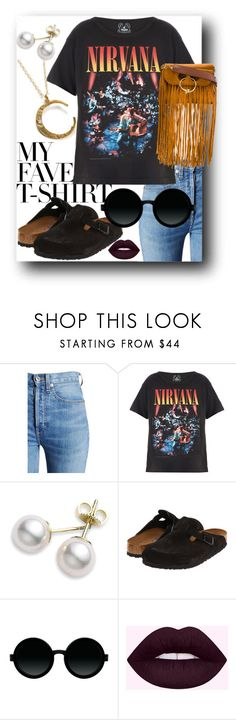"""Untitled #382"" by chavelaprincess ❤ liked on Polyvore featuring RE/DONE, Trunk LTD, Mikimoto, Birkenstock, Moscot, J.W. Anderson, fringe, nirvana, birkenstock and MyFaveTshirt"