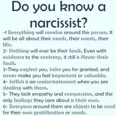 Projection is hilarious. I get called a narcissist by the biggest one I know. Yet I fit nothing on the list.
