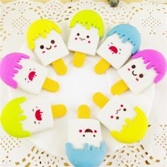 1pcs Kawaii High Quality Kawaii Eraser Ice Cream Eraser Smile Face Erasers Kids Stationery School Supplies Color Random