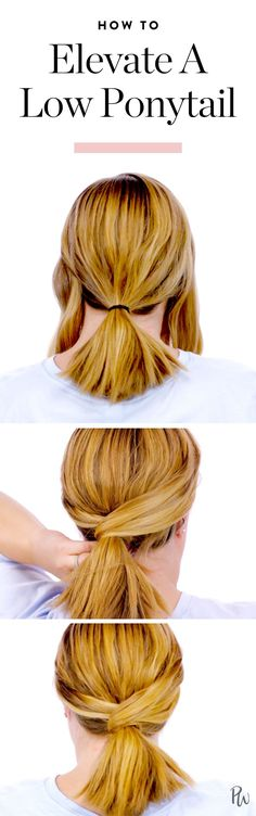 Here's how to elevate a low ponytail for an ultra chic (and simple) hairstyle. #hairideas #hairstyles #ponytail #ponytailideas #hairstyleideas #hairtutorial