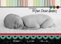 5x7 flat baby announcement created w/ Storybook Creator 4.0 software & Enchanted Digital Power Palette.  How sweet is this?!!