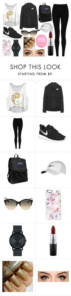"""""""casual day out"""" by madisonkeedle on Polyvore featuring NIKE, M&S Collection, JanSport, Emilio Pucci, Casetify, Movado, MAC Cosmetics and River Island"""