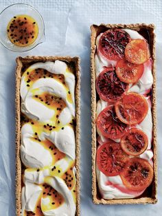 Passionfruit and blood orange ricotta tarts.