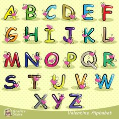 """Valentines Day alphabet clipart, alphabet clip art, Scrapbook supplies PNG, Party printables, comercial use  You will receive :  - 26 png files with transparent background, mixed coloured letters ( as you can see in image preview) - 6""""x 6"""" 300 dpi ; - 26 png files with transparent background, blue colour letters - 6""""x 6"""" 300 dpi ; - 26 png files with transparent background, green colour letters - 6""""x 6"""" 300 dpi ; - 26 png files with transparent background, orange colour letters - 6""""x 6"""" 300…"""