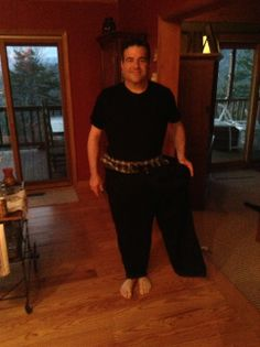 January 2013 10 months after surgery in the pants I wore to the hospital