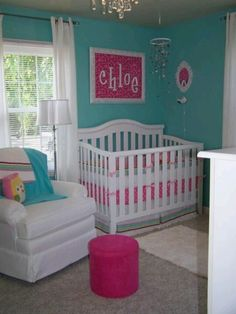 Pink raspberry & aqua- baby girls room